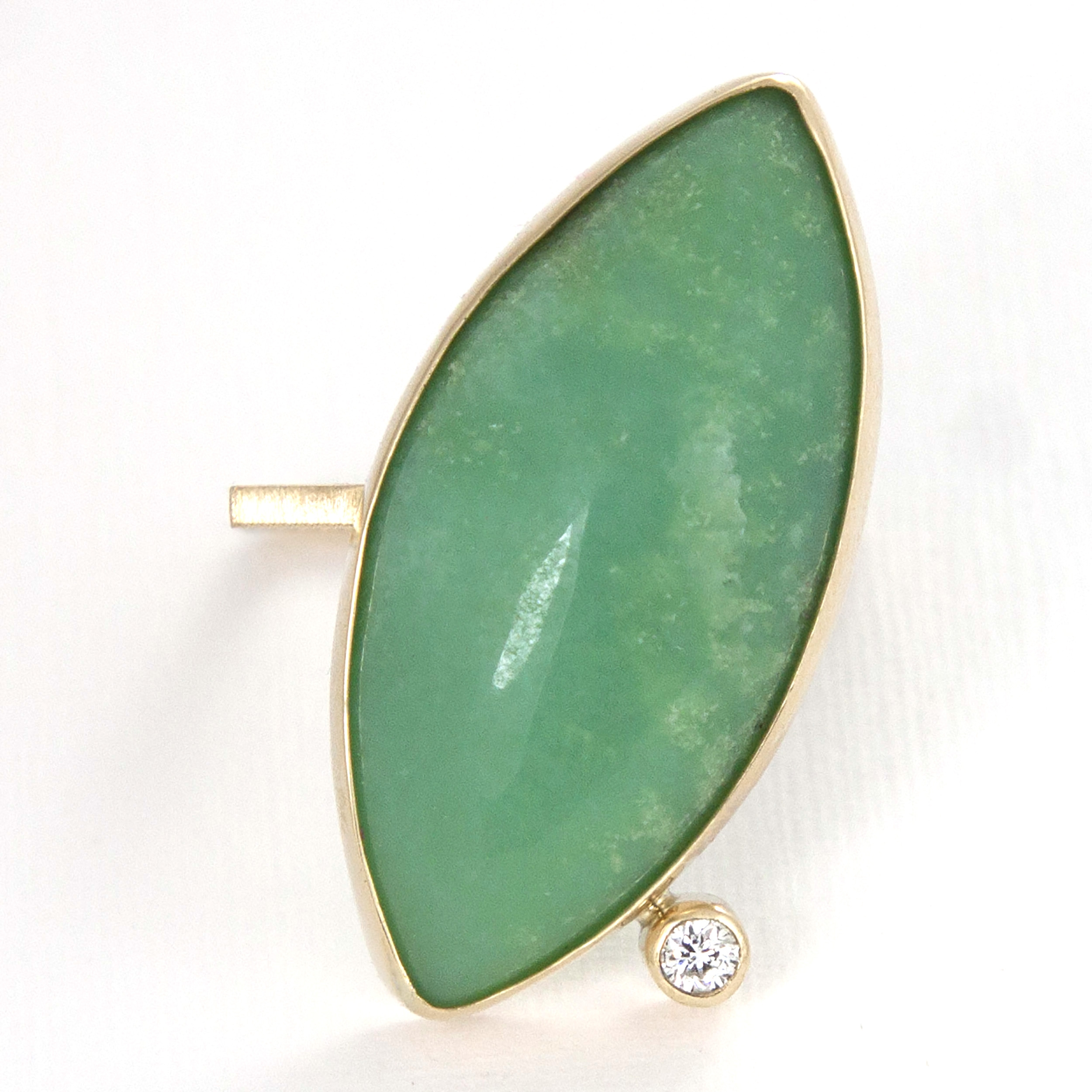 square ring with chryzoprase and diamond