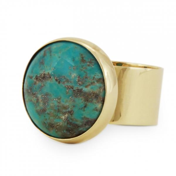 złoty, szeroki pierścionek, z turkusem, ja. jabłońska biżuteria, jablonska jewellery