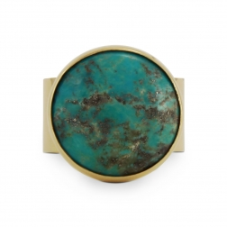 big, yellow gold rong with turquoise, ja. jablonska jewellery
