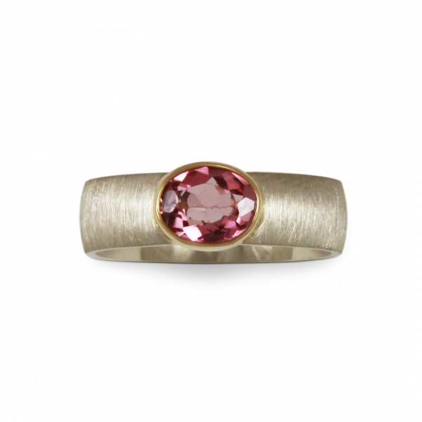 white gold ring with tourmaline in yellow gold, jablonska jewellery