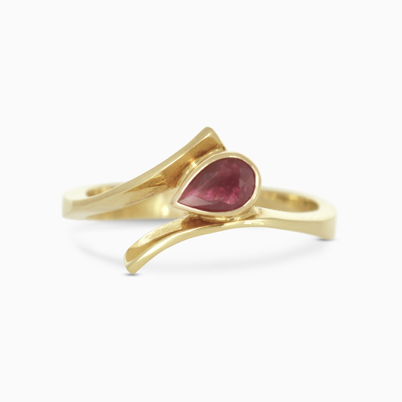 ruby in yellow gold