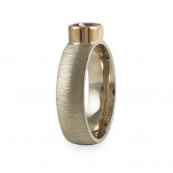 pierścionek z białego złota, turmalin, jabłońska biżuteria