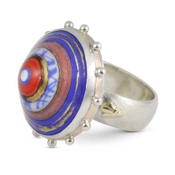 unikalne szkło, srebrny pierścionek, ja jabłońska biżuteria