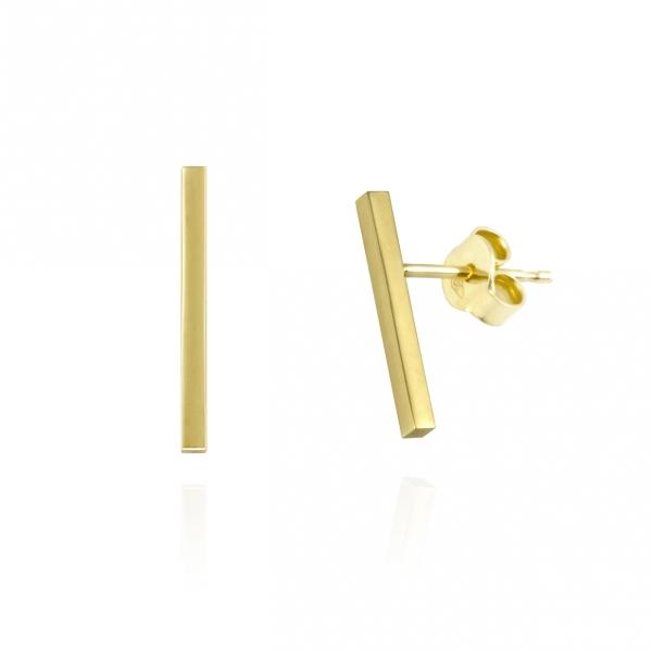 delikatne złote kolczyki pałeczki, ja. jabłońska biżuteria, jablonska jewellery