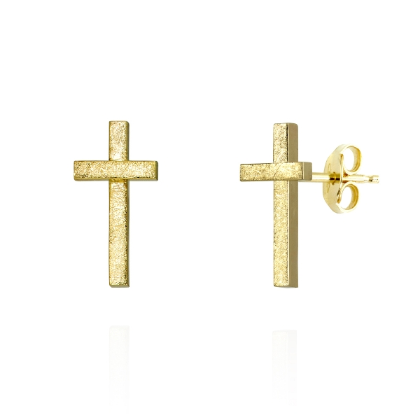crosses gold earringd