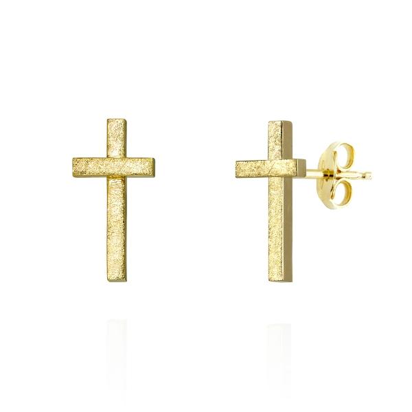 złote kolczyki krzyżyki, ja biżuteria, jabłońska