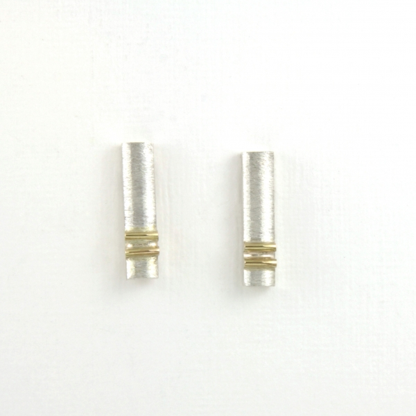 silver earrings marked with gold, ja. jablonska jewellery
