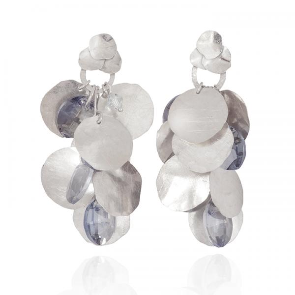 srebrne kolczyki blaszki, ja. jabłońska biżuteria, jablonska jewellery