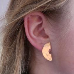 złote kolczyki, półkregi, ja. jabłońska biżuteria, jablonska jewellery
