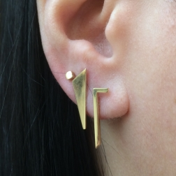 almost triangular, gold earrings