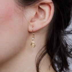 gold earrings with chalcedony