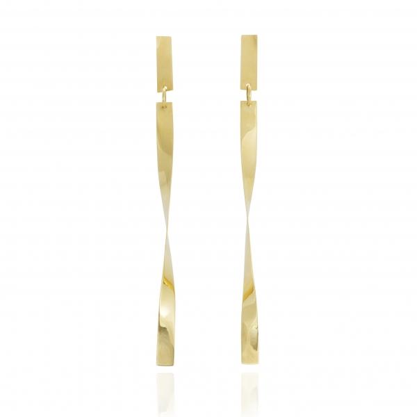 Długie złote kolczyki- skręcone paski.