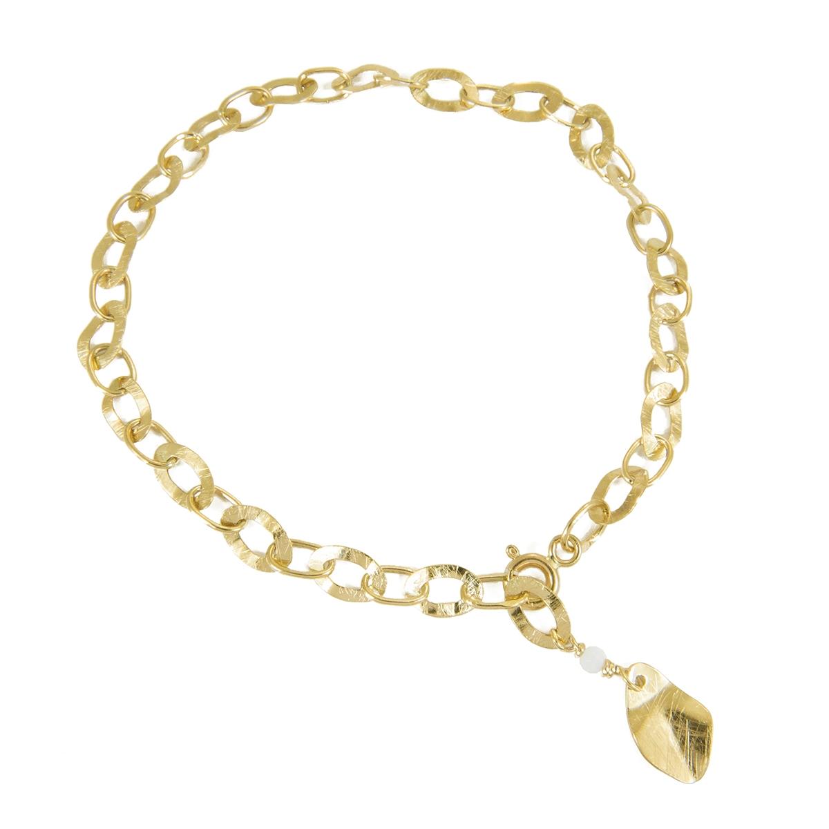 gold bracelet with chalcedony
