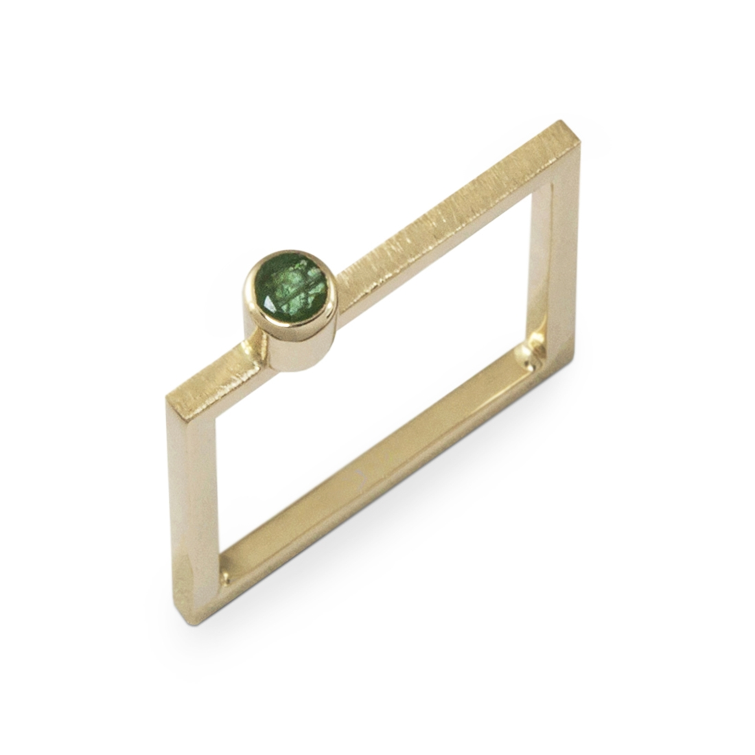 gold square with emerald