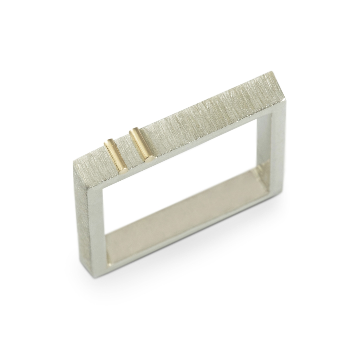 silver square band marked with gold