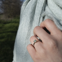 white gold ring with moissanite