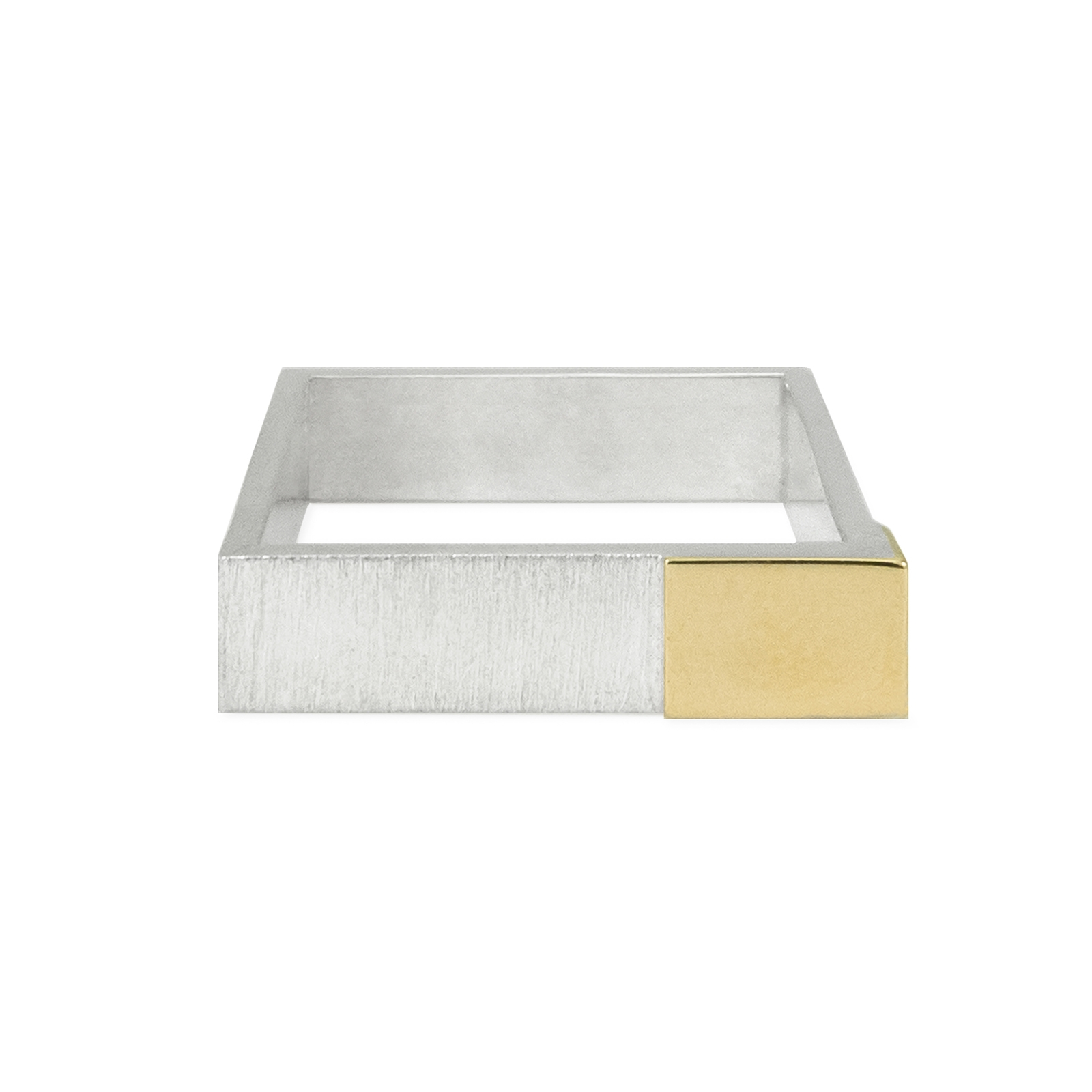 silver square with gold mirror