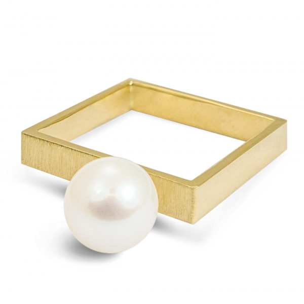 gold square ring with white pearl