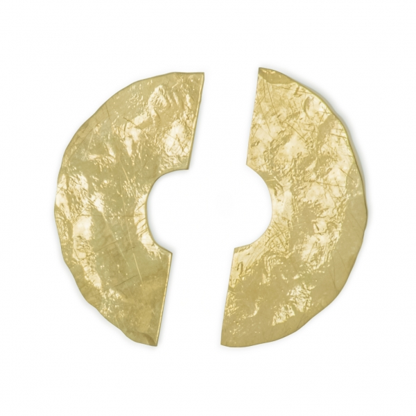 złote kolczyki, półkręgi, ja. jabłońska biżuteria, jablonska jewellery
