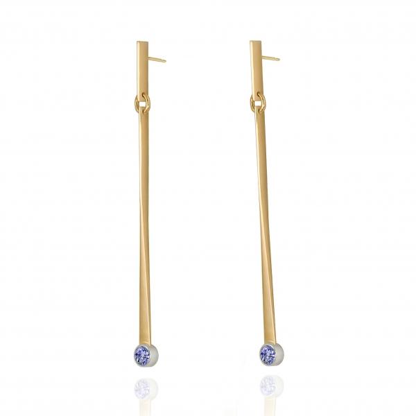 long gold earrings, ja. jablonska jewellery