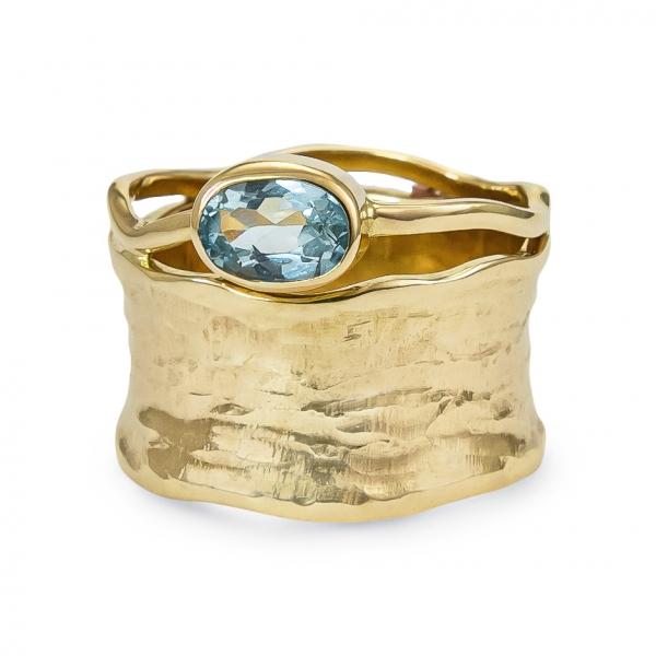 ŻŁOBIONA, złoty pierścionek z topazem, grooved, ja. jabłońska  jewellery