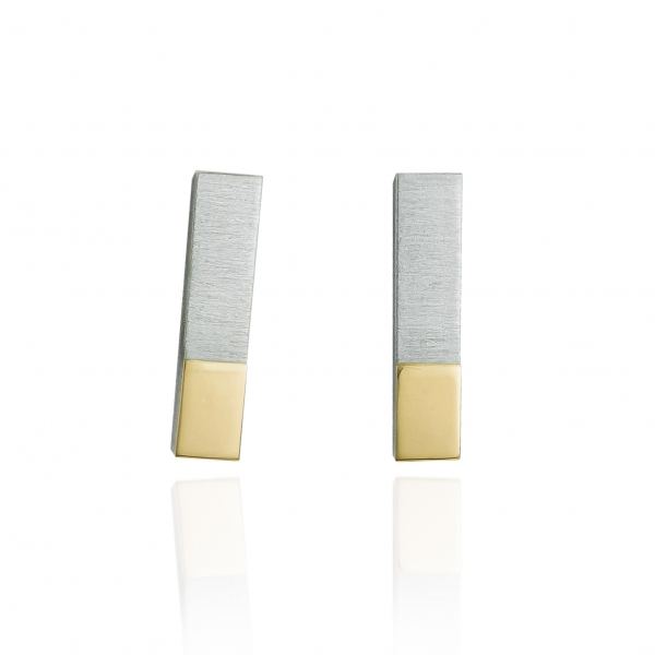 silver earrings with gold mirror