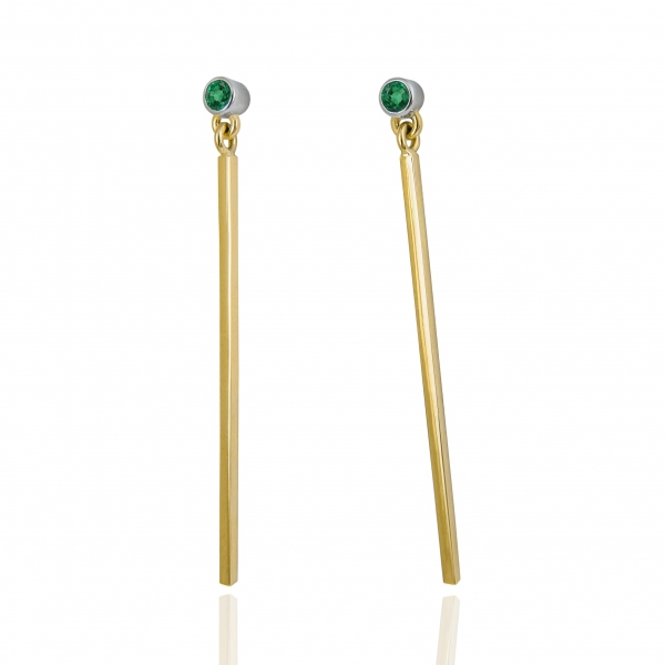 gold sticks with emerald