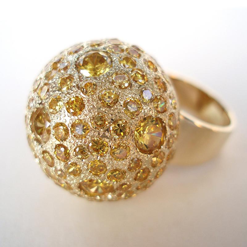 pierścionek złota kula, cyrkonie, ja.jabłońska bizuteria kopia