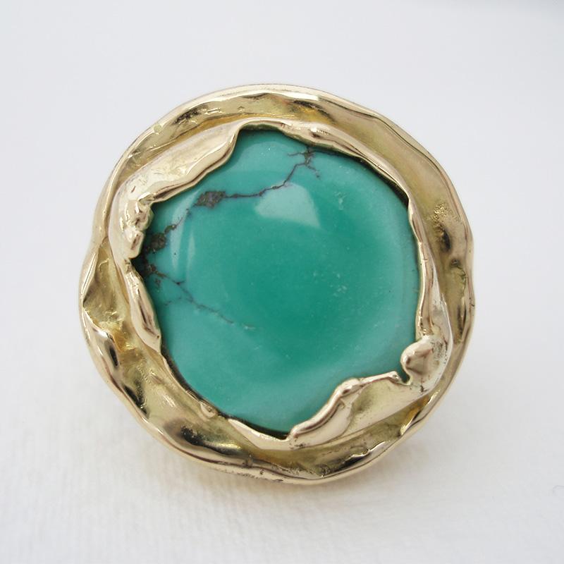 złoty pierścionek z turkusem, ja. jabłońska biżuteria